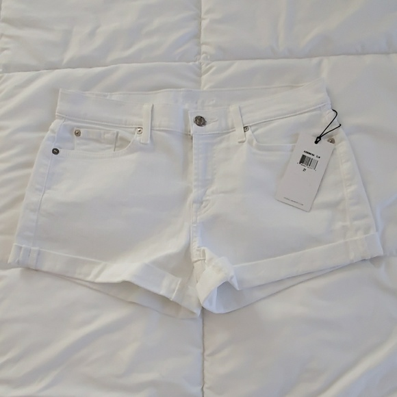 7 For All Mankind Pants - Cuffed Denim Shorts, Clean White, Mid Rise, 4